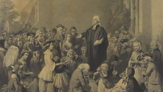 The Revd. John Wesley, M.A., Preaching on His Father's Tombstone in Epworth Churchyard